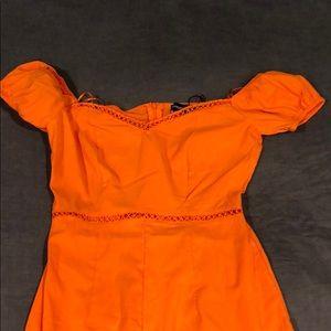 Dresses - Orange midi dress off the shoulder